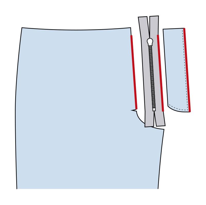 Cómo coser la bragueta de un pantalón paso 3