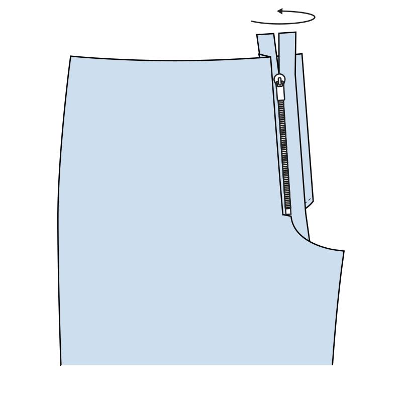 Cómo coser la bragueta de un pantalón paso 5