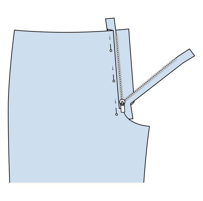Cómo coser la bragueta de un pantalón paso 6