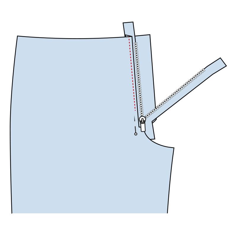 Cómo coser la bragueta de un pantalón paso 7