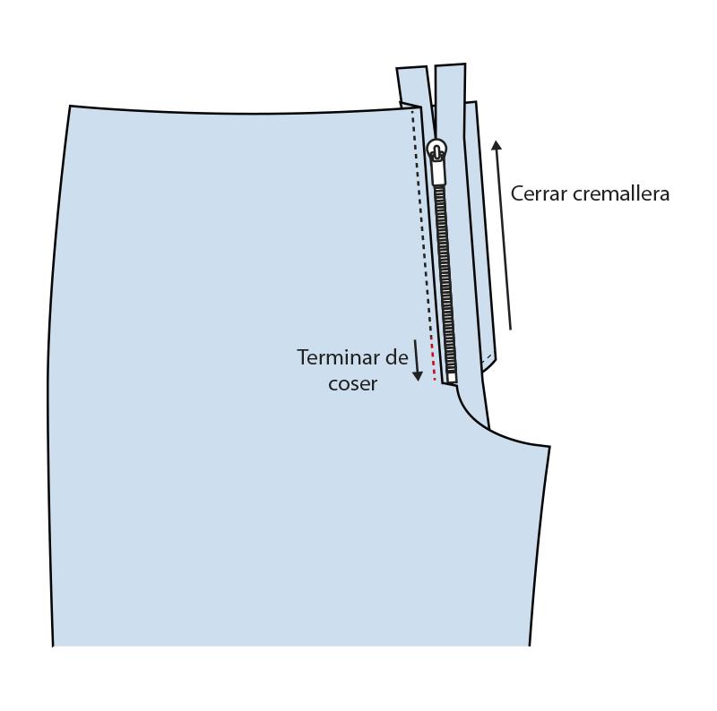 Cómo coser la bragueta de un pantalón paso 8
