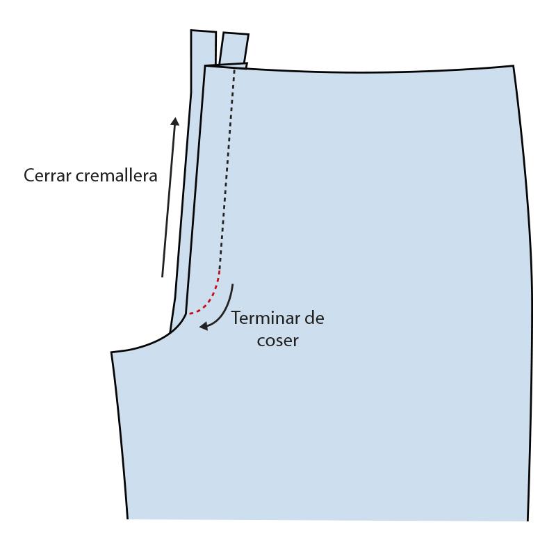 Cómo coser la bragueta de un pantalón paso 14