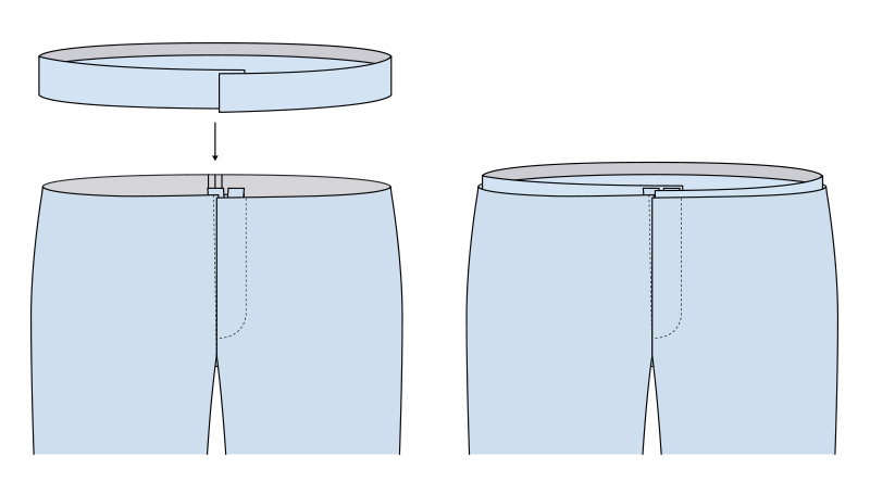 Unir cinturilla al pantalón paso 3